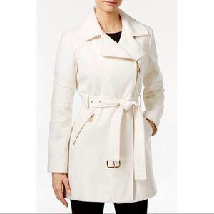 Michael Kors Ivory Asymmetrical Belted Walker Coat